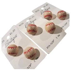 Cool Vintage Wooden Baseball  Buttons Set of Six