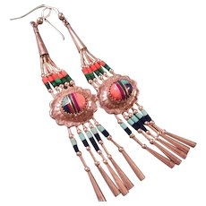 Navajo Native American Southwestern Inlaid  Sterling Silver Earrings