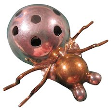 Taxco Signed Lady Bug Figural Sterling Silver Vermeil Brooch Pin