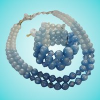 Fabulous Ombre Blue Moonglow Necklace Bracelet Earrings Parure