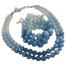 Fabulous Ombre Blue Moonglow Necklace Bracelet Earrings Parure