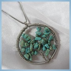 Turquoise Tree of Life Hand Wired Pendant Necklace
