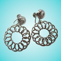 Coro Signed Mid Century Swirled Screw Back Earrings