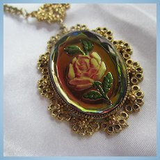 Stunning Reverse Painted Rose Cameo Beveled Vitriol Crystal Y Double Chain Necklace