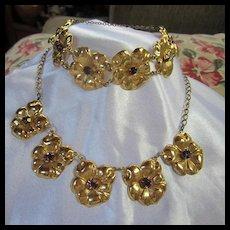 RARE CoroCraft Sterling Vermeil Pansy Necklace Bracelet 1940s Demi Parure Set