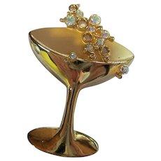 JJ Jonette Signed Gold tone Champagne Glass AB Bubbles Brooch