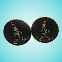 March of the Wooden Soldiers Holiday Enamel Gold tone Cuff Links