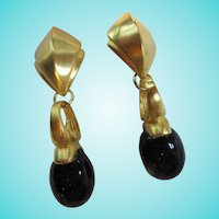 Dramatic Liza O Signed Fabulous Art Deco Design Statement Clip Earrings
