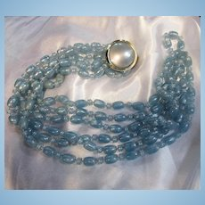 Fabulous Triple Strand Blue Lucite Beads with Large Round Clasp Necklace