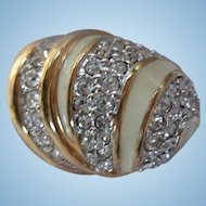 Swarovski Signed SAL Cream Enamel Sparkling Crystals Gold Plate Adjustable Ring