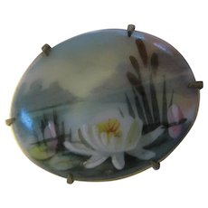 Victorian Water Lily Hand Painted Porcelain Brooch