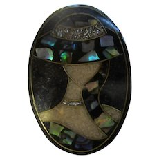 Art Deco Style Inlaid MOP Abalone Sophisticated Lady Lucite Brooch