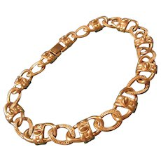 Givenchy Signed Runway Couture Matte Gold Plated Necklace