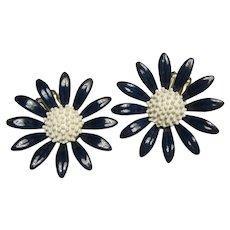 1960s Flower Power Navy Blue White Enamel Clip Earrings