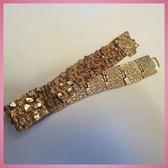 Wonderful Gold Plated Nugget Brutalist 1970s Bracelet