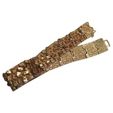 Wonderful Gold Plated Nugget Brutalist 1970s Bracelet
