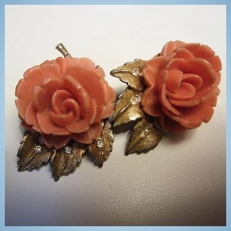 BSK Signed Coral Carved Celluloid Flowers Rhinestone Clip Earrings
