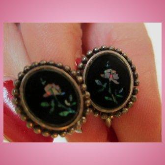 Inlaid Opal Flowers Onyx Art Deco Sterling Silver Screw Back Earrings