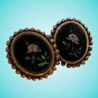 Inlaid Opal Flowers Onyx Art Deco Sterling Silver Screw Back Earrings