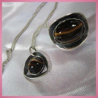 S Africa Signed Modernist Sterling Silver Tiger Eye Pendant Chain Brooch Set
