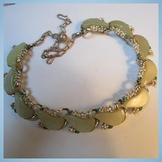 Rare Schrager Signed Champagne color Moonstone Thermoset Enamel Rhinestone Necklace