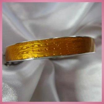 Stunning Golden Guilloche Enamel Sterling Silver Signed Bangle Bracelet