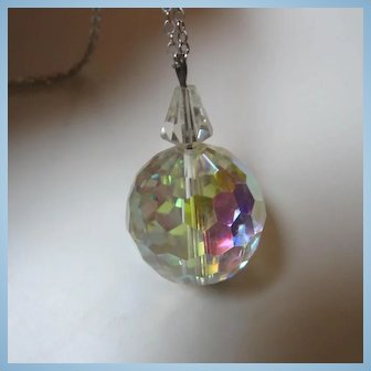 Fully Faceted AB Swarovski Crystal Prism Ball Pyramid bale Pendant Necklace
