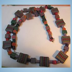 Fabulous Polymer Clay Vivid Colors Abstract Hand Made Long Necklace