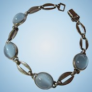 Art Deco Blue Moonstone Sterling Silver Signed Bracelet