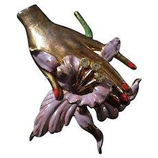 Fabulous Art Deco Trembler Hand Orchid Hand Brooch