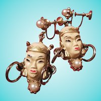 Selro Selini Iconic Asian Princess Screw Back Earrings 1940s
