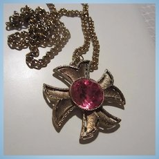 Gorgeous Raspberry Pink Maltese Cross Pendant Necklace