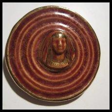 Egyptian Revival Ceramic King Tut Pharaoh Brooch