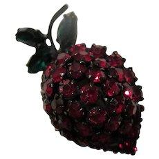Warner Signed Sparkling Red Green Strawberry Figural Japaned Brooch
