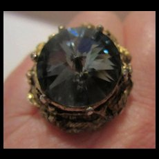 Amazing Cornflower Blue Rivoli Swarovski Crystal Point Up Statement Ring
