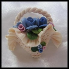 Fabulous Hand Made Polymer Clay Flower Basket Vintage Brooch