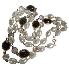 Swarovski Crystal fx Baroque Pearl Long Vintage Forty Inch Necklace