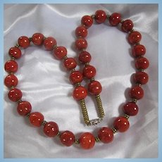 Gorgeous Natural Apple Coral Vintage Necklace