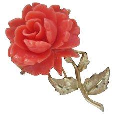 Carved Coral Celluloid Rose Flower Vintage Brooch Pin