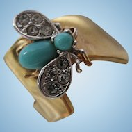 Beautiful Fly fx Turquoise Sparkling Pave Wings Signed 18K HGE Ring