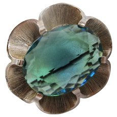 Signed Blue Green Fully Faceted Oval Crystal Vintage Brooch