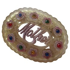 Early Celluloid Mother Brooch C Clasp