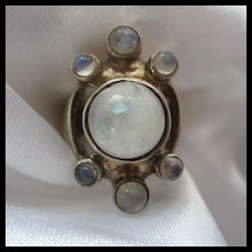 Fabulous Signed Bench made Moonstone Modernist Sterling Silver Ring