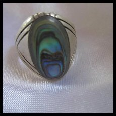Native American Signed Abalone Hand Made Sterling Silver Ring