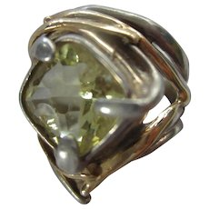 Signed Modernist Sterling Silver 14K Gold Hand Made Citrine Ring AS IS