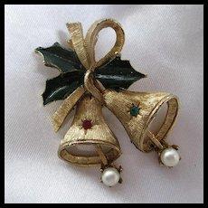 Vintage Christmas Holiday Bells fx Pearls Red Green Rhinestone Brooch