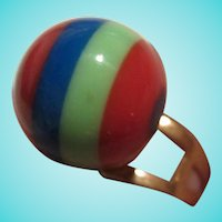 Fun Funky Mod Striped Lucite Round Adjustable Ring