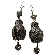 Chinese Export 1930s Silver Enamel Lantern Earrings