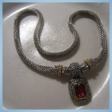 Beautiful Silver Gold Color Mesh Rubellite Glass Cabochon Necklace