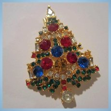 Weiss Signed Sparkling Jeweled Christmas Tree Brooch